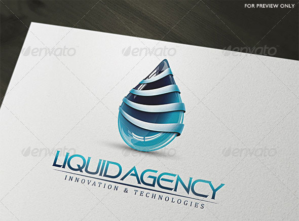 3D Liquid Agency Logo Template
