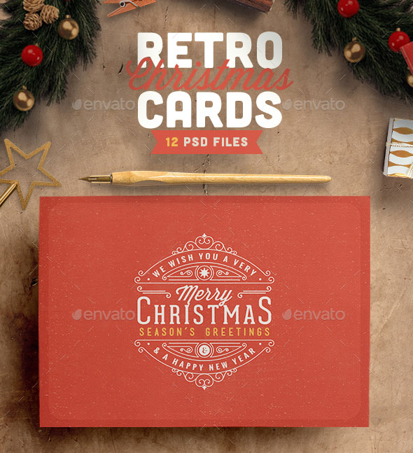 Cool Psd Christmas Card Templates  Web  Graphic Design  Bashooka
