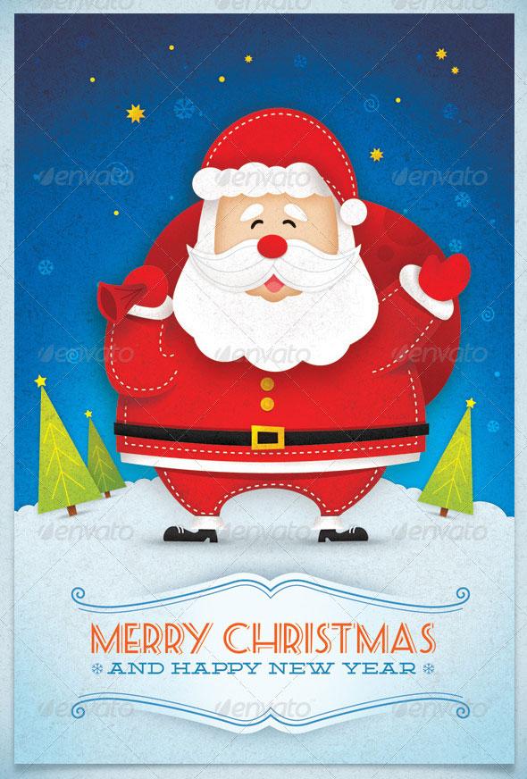 Santa Claus Winter Holidays Greeting Card