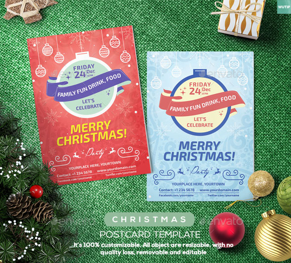 Christmas Postcard Template 01