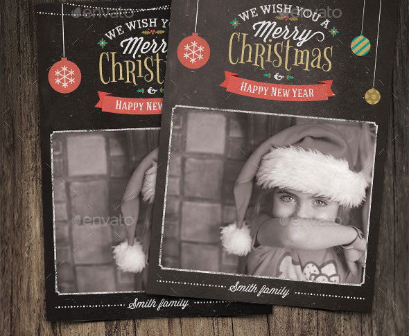 Christmas Photo Card Grunge Vintage
