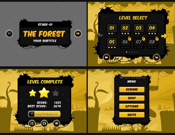 Fantastic Game UI HUD Elements Web Graphic Design Bashooka - Game menu design
