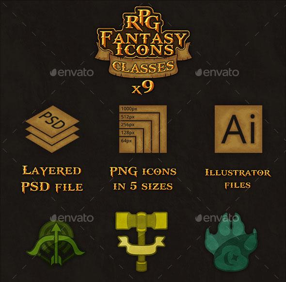 9 RPG Heroic-Fantasy Classes Icons