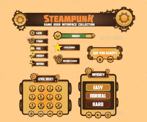 Steam Punk Game User Interface Set