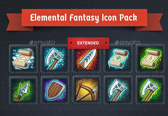 Painterly Elemental Item Icons
