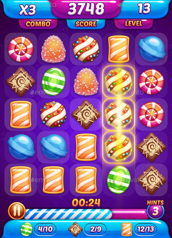 Match-3 Candy Game GUI
