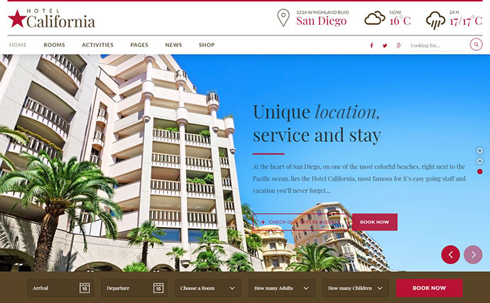 Hotel & Hostel WordPress Theme