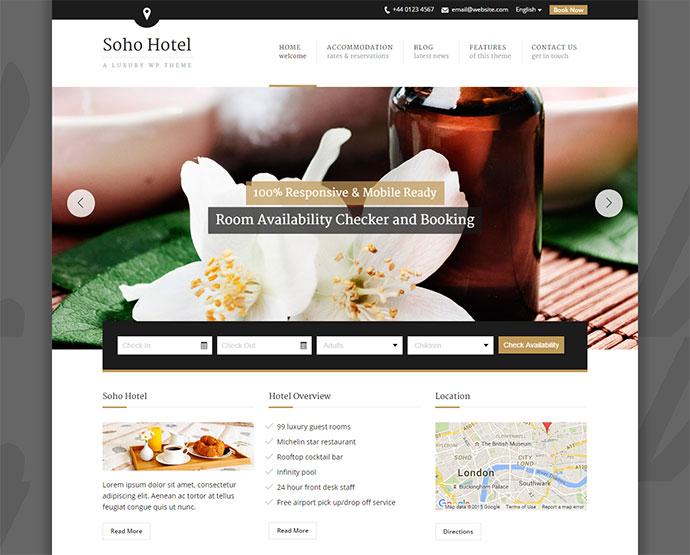 Soho Hotel - Responsive Hotel Booking WP Theme