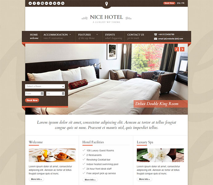 20 Best WordPress Themes For Resorts Hotels Web Graphic Design Bashooka