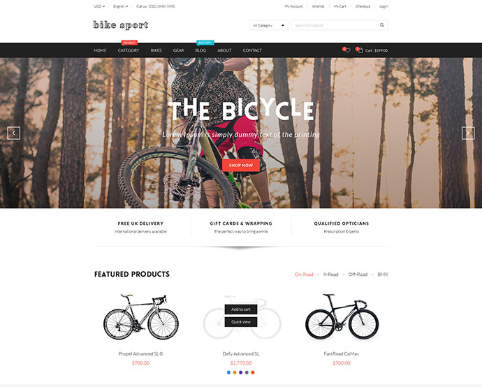 Bike Sport - Hikashop Joomla Template