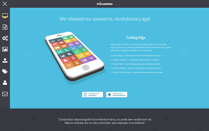 Coloramma - Minimal Animated HTML App Landing Page
