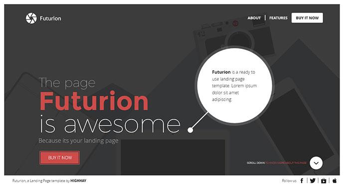 Futurion Beautiful Landing page template