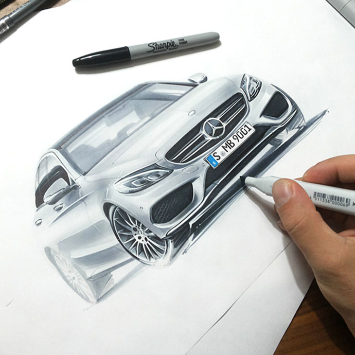 some car sketches by Orhan Okay