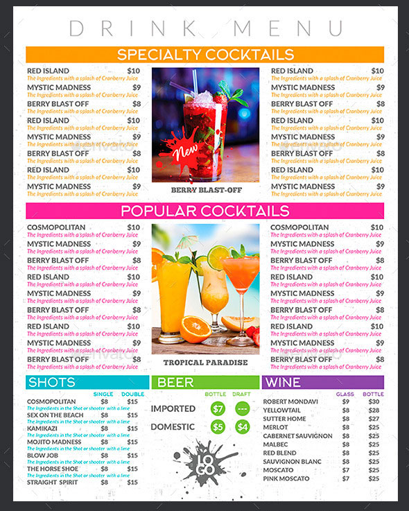 CreativB  Drinks Menu Template Free