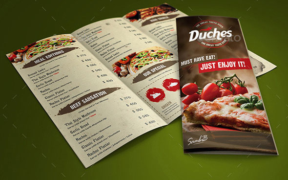 Effective PSD Restaurant Menu Design Templates Web Graphic - 3 fold menu template