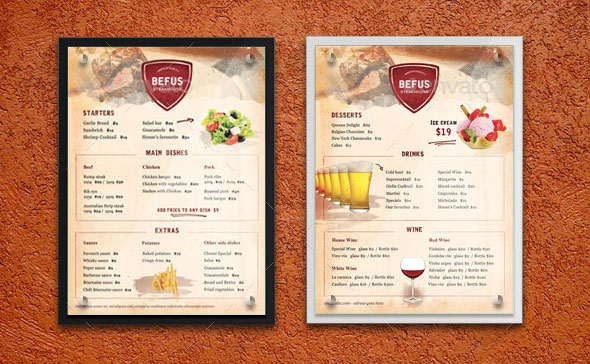 Effective psd restaurant menu design templates web