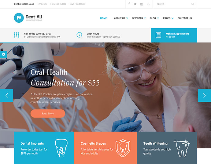 Dent-All: Dental Practice WordPress Theme