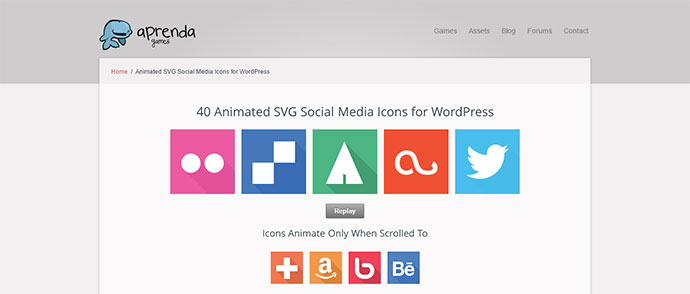 Animated SVG Social Media Icons for WordPress