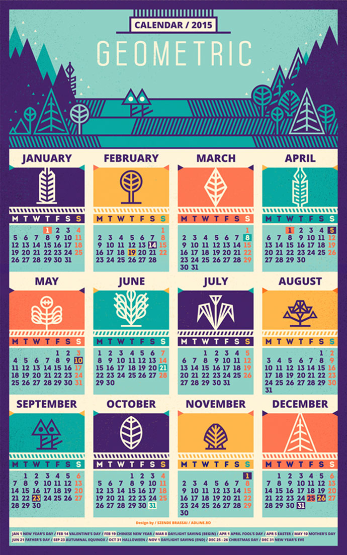 Calendar / 2015 & Pattern by szende brassai