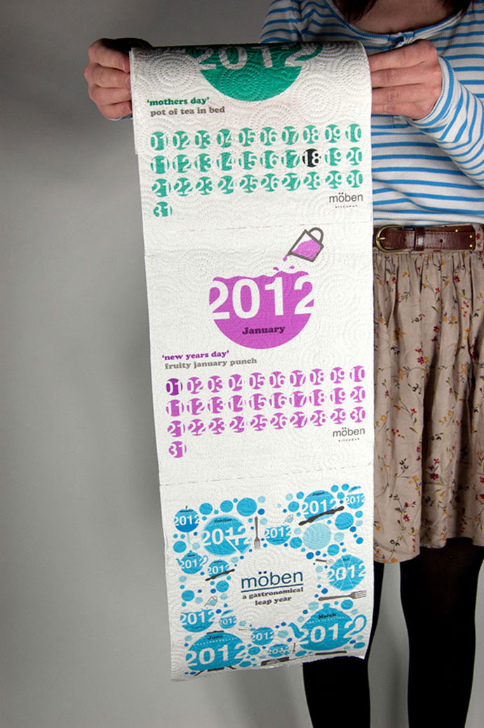 The calendar was printed onto kitchen roll displaying a different gastronomical theme for each month.