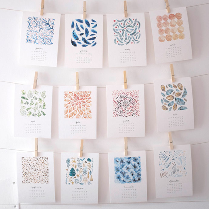 Watercolor Pattern Calendar 2015 by Nathalie Ouederni