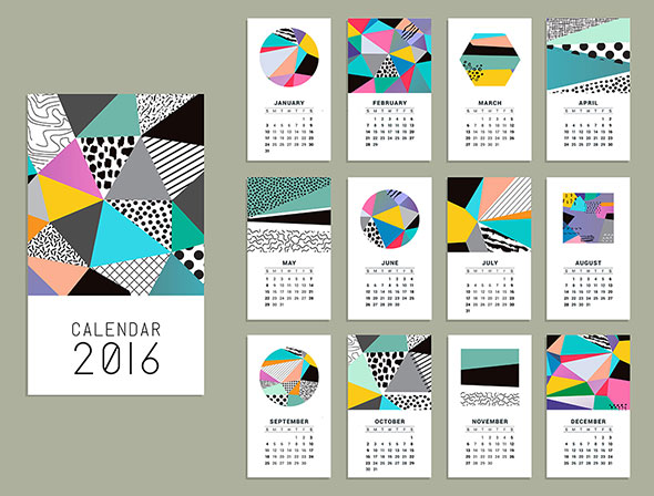 Calendar 2016. Bright pieces