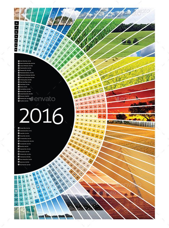 Landscape Half Circle Calendar 2016 + A1