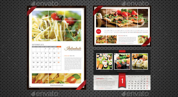 3 in 1 Restaurant Calendar 2016 Bundle