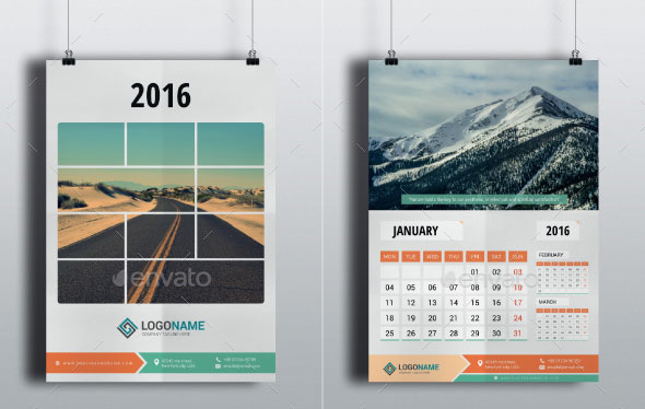 Horizontal Calendar Design : Best calendar templates for web graphic design