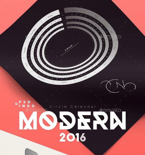 Modern 2016 Circle Calendar