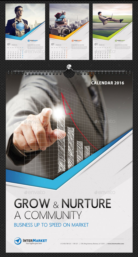 Corporate Business Wall Calendar 2016 V06