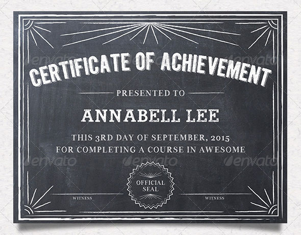 35 best certificate template designs web graphic design bashooka chalkboard certificates download template yelopaper Images