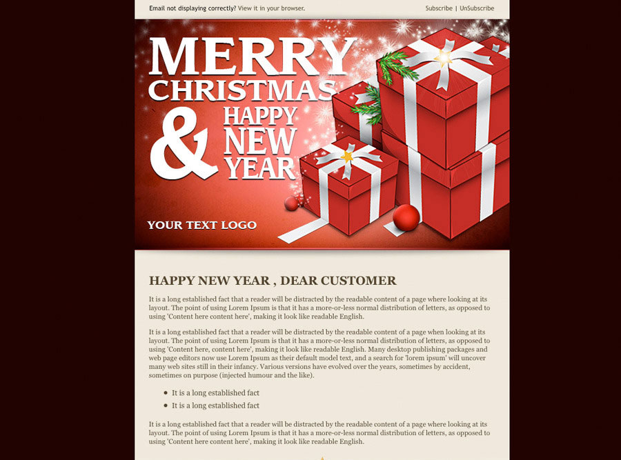 20 Wonderful Christmas New Year Email Templates – New Year Email Template
