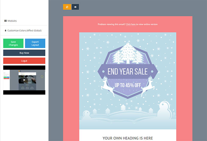 Wonderful Christmas New Year Email Templates Web Graphic - Promotional mailer template