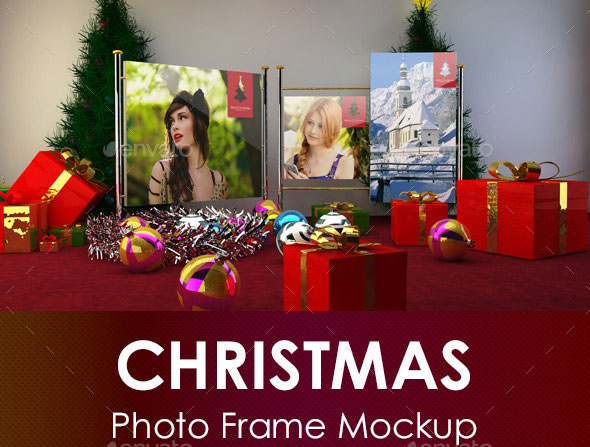 Christmas Photo Frame Mockup