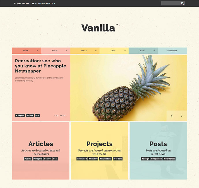 Vanilla - Boxed & Colored WordPress Theme