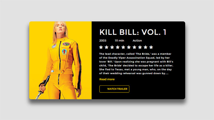 Movie Card Interactive UI With Pure CSS3 Animation Rating