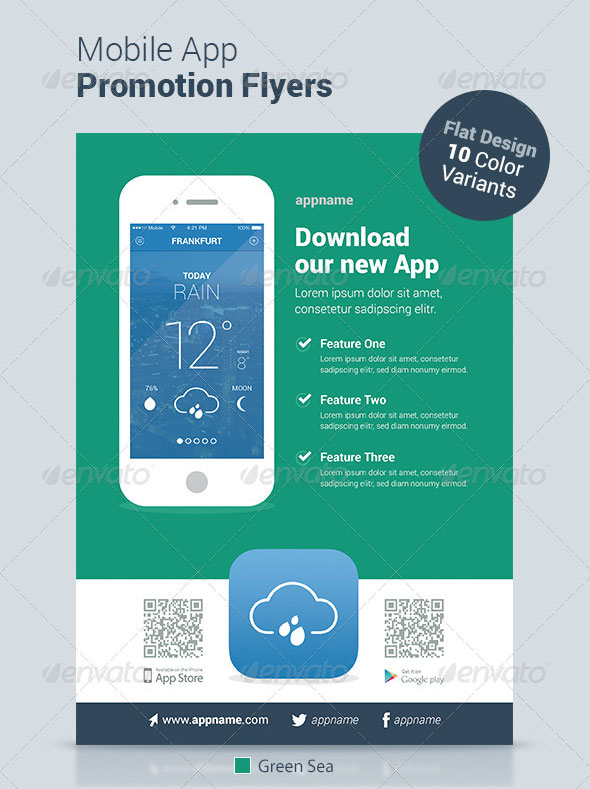 30 effective web mobile apps flyer psd templates web graphic download mobile app flyers flat design toneelgroepblik Gallery