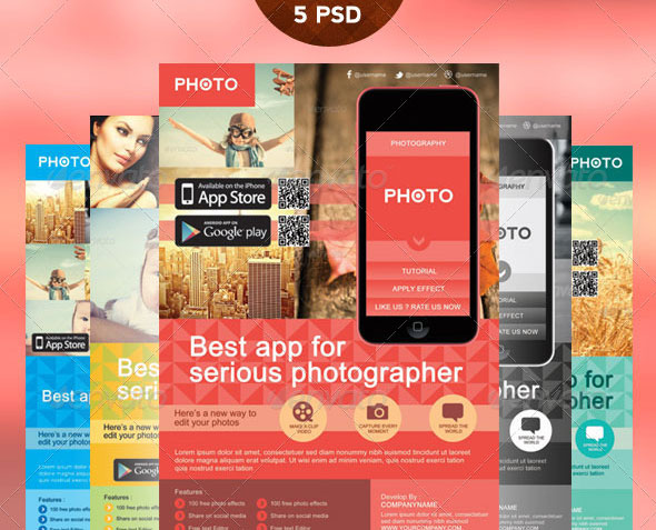Mobile App Photography Flyer Template