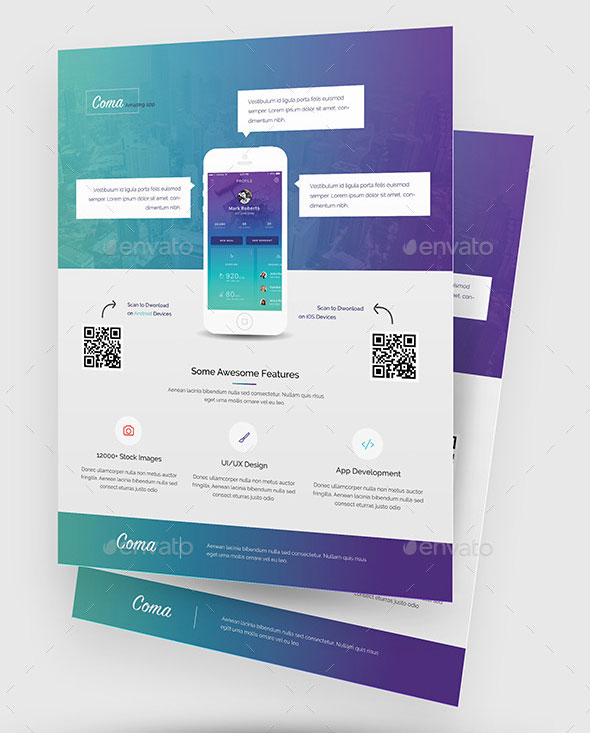 Effective Web Mobile Apps Flyer PSD Templates Web Graphic - Brochure flyer templates