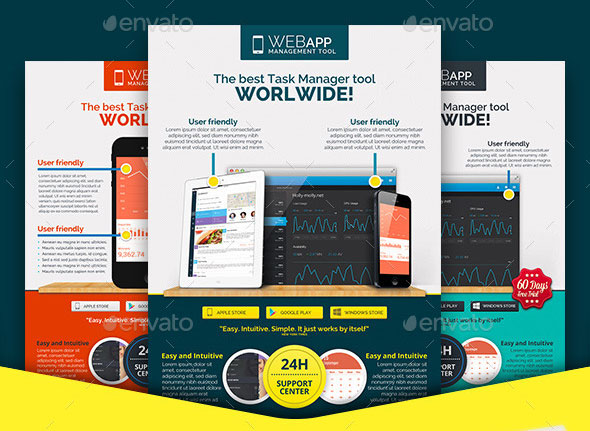 30 effective web  u0026 mobile apps flyer psd templates  u2013 bashooka