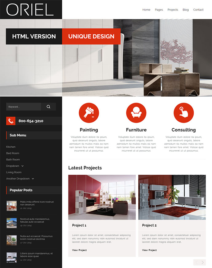 oriel responsive interior design html5 template - Interior Design Pages