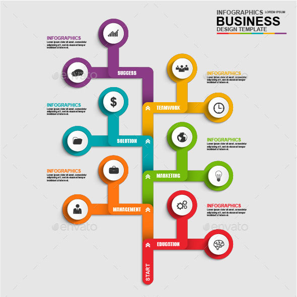 Abstract 3D Business Tree Timeline Infographic