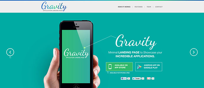Gravity Mobile App Landing Page Responsive (HTML)