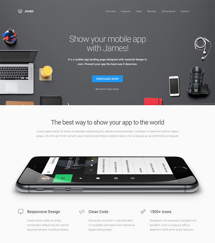 Material Design Mobile App Landing Page