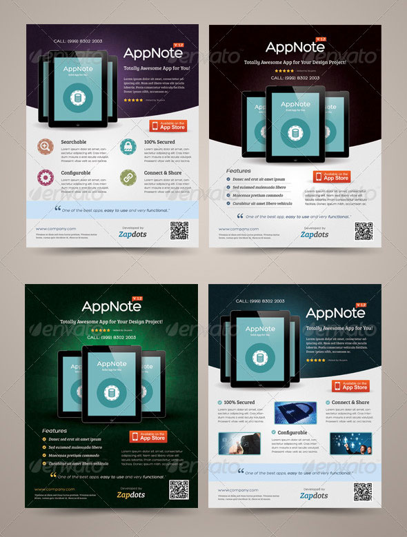 30 effective web  u0026 mobile apps flyer psd templates
