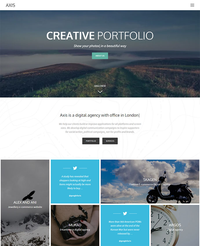 Axis - WordPress Portfolio for Creative Agency