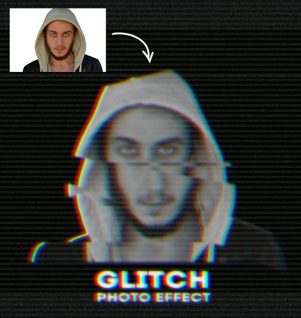 Glitch VHS Corrupt Image Effect Photoshop Actions