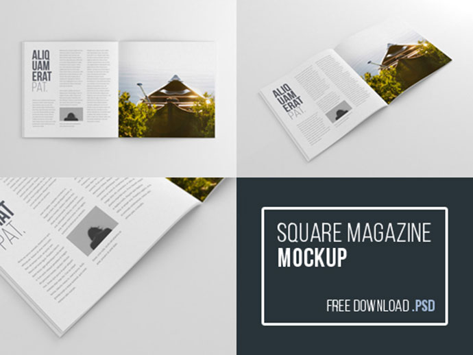 Free Square Magazine Mockup (Psd) by Wassim