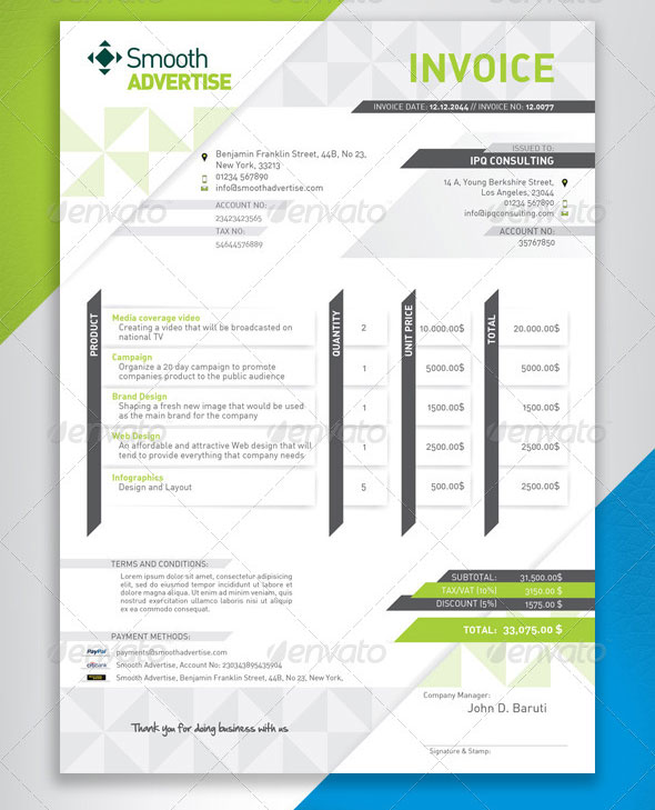 Best Psd Invoice Templates For Freelancer  Web  Graphic Design